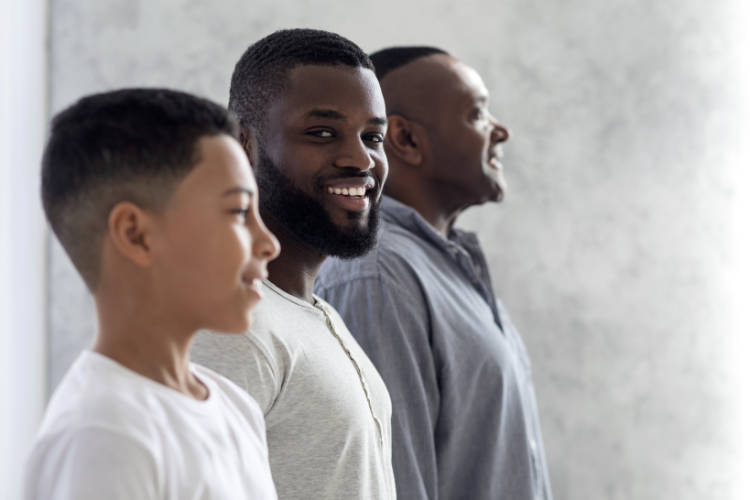The Role of Men In Families. Black Millennial Man Standing In A Row With His Son And Father
