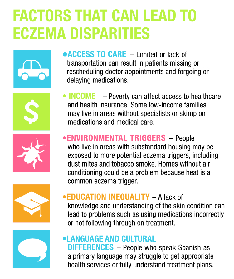 Infographic of Social and economic factors that  can lead to eczema disparities